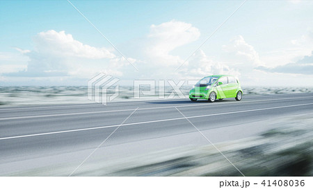 3d model of electric green car with 3d model of man. Render. Ecology concept. 3d rendering. 41408036