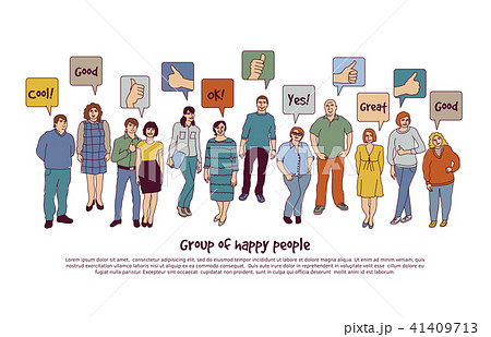 Group happy people and sign like isolate on white 41409713