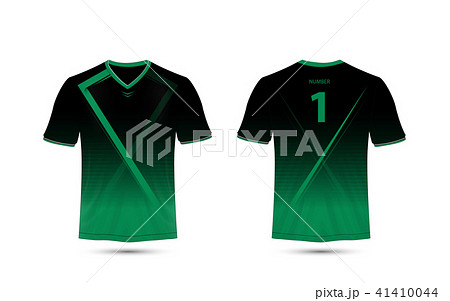 black and green layout sport shirt design templateのイラスト素材