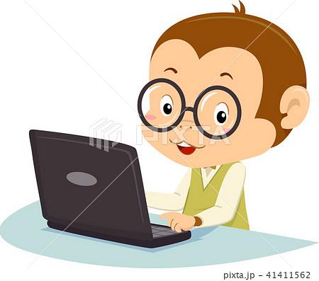 Monkey Mascot Laptop Illustration 41411562