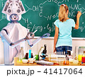 Girl has interactive online learning chemistry and biology course. 41417064
