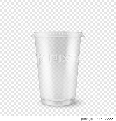 Vector realistic 3d empty clear plastic disposable cup closeup isolated on transparency grid 41417222