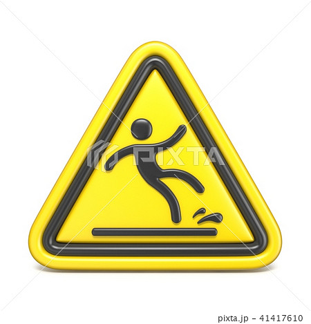 Wet floor sign yellow triangle with falling man 3D 41417610