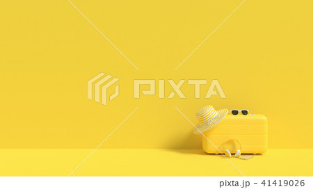 suitcase yellow color with sunglasses with hat 41419026