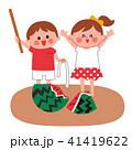 スイカ割り 子供 笑顔のイラスト 41419622