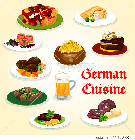 German cuisine dinner with sausage and beer icon 41422830