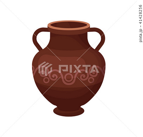 Flat vector icon of large ceramic jug with two handles, short wide neck and ornament. Antique clay 41428256