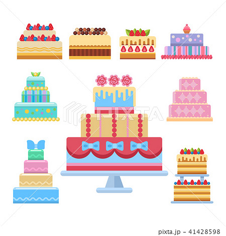 Wedding cake pie sweets dessert bakery flat simple style isolated vector illustration. 41428598