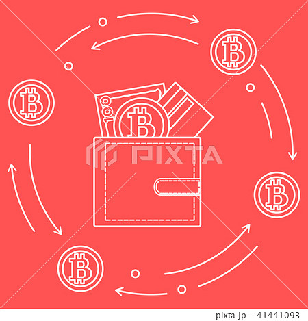 Purse with banknote, credit card and bitcoin 41441093