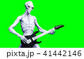 Funny alien plays on electric guitar. Realistic motion and skin shaders. 3d rendering. 41442146