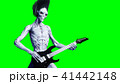 Funny alien plays on electric guitar. Realistic motion and skin shaders. 3d rendering. 41442148