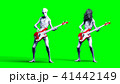 Funny alien plays on bass guitar. Realistic motion and skin shaders. 3d rendering. 41442149