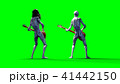 Funny alien plays on bass guitar. Realistic motion and skin shaders. 3d rendering. 41442150