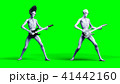 Funny alien plays on electric guitar. Realistic motion and skin shaders. 3d rendering. 41442160