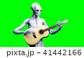 Funny alien plays on acustic guitar. Realistic motion and skin shaders. 3d rendering. 41442166