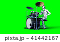 Funny alien plays on drums. Realistic motion and skin shaders. 3d rendering. 41442167