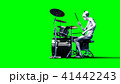 Funny alien plays on drums. Realistic motion and skin shaders. 3d rendering. 41442243