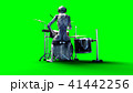 Funny alien plays on drums. Realistic motion and skin shaders. 3d rendering. 41442256