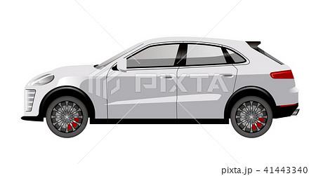 白色のSUV車のイラスト|自動車のイラスト|横向きの自動車| 41443340