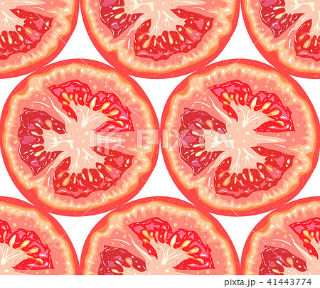 vector seamless pattern of tomato sliceのイラスト素材 41443774 pixta