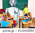 Teacher robot with school children in school class near blackboard. 41444894