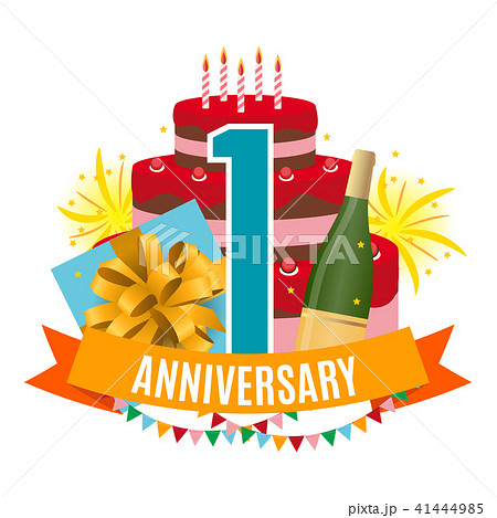 template 1 year anniversary congratulations greeting card with cake