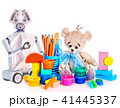 Robot toy and stuffed animals teddy bear and color pencils and cans of paint. 41445337