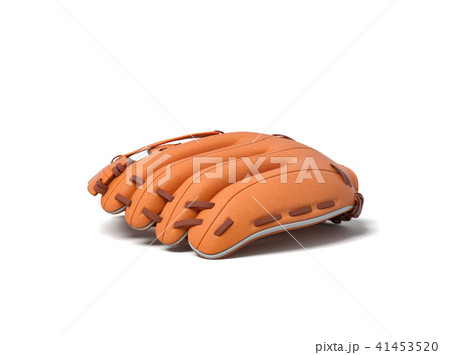 3d rendering of a single orange leather baseball glove lying palm down on a white background. 41453520