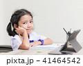 Asian little girl in student uniform doing homewor 41464542