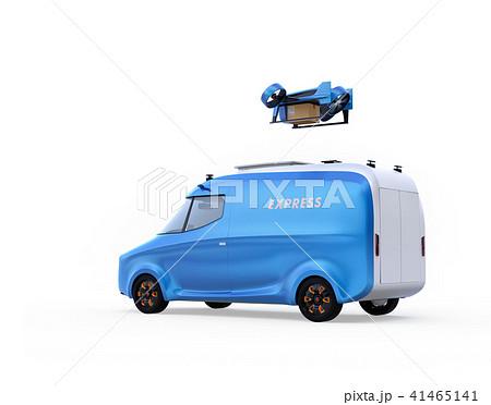 宅配ドローンが電動デリバリーバンから飛び立つイメージ。白背景。 41465141