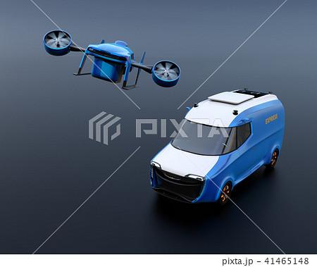 宅配ドローンが電動デリバリーバンから飛び立つイメージ。黒背景。 41465148