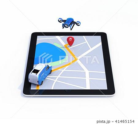 配達案内地図が表示されているタブレットPCに自動運転宅配車とデリバリードローンのイメージ。白バック 41465154