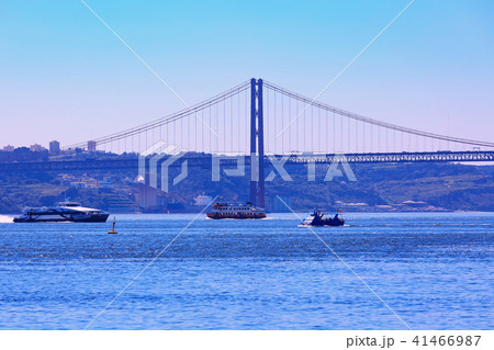 Lisbon, Portugal River Tagus and bridge 41466987