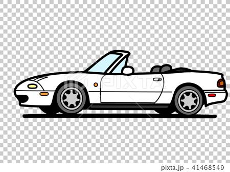 国産コンパクトオープンスポーツ 白色 自動車イラスト 41468549