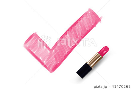 Check mark symbol write by Lipstick pink color 41470265