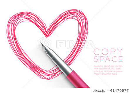 Heart symbol hand drawing by pen sketch pink color 41470677