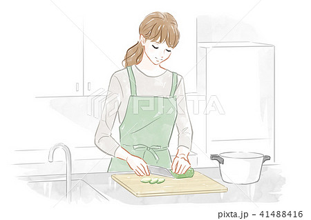 料理する女性 41488416