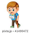 男の子 男児 松葉杖のイラスト 41490472