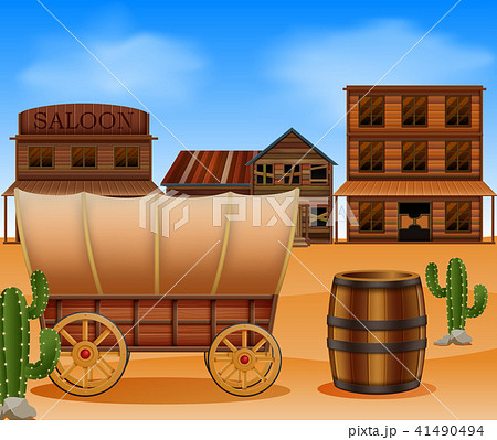Western town with wooden wagon 41490494