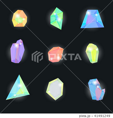 Realistic Detailed 3d Color Crystal Stone Set. Vector 41491249