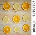 Lemon Orange Citrus Pattern on Wooden Texture 41491496