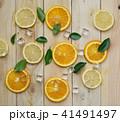 Fresh Orange Lemon Sea Shells Leaves Cube Ice 41491497
