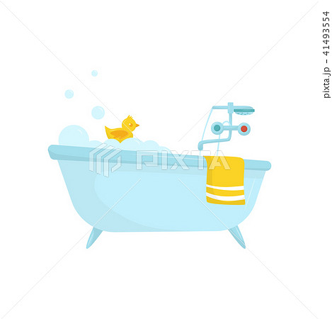 flat vector icon of blue bath with soap foam rubber duck bright