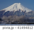 富士山 早朝 雪山の写真 41494812