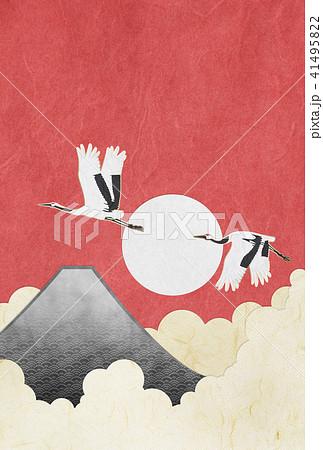 年賀状素材(はがき比率) 富士山 鶴 和紙 41495822