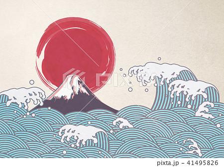 波 水しぶき 富士山 和紙 41495826