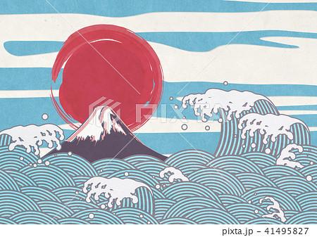 波 水しぶき 富士山 和紙 41495827