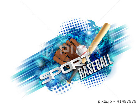 baseball poster with a baseball. Baseball games advertising. Announcement of a sporting event. 41497979