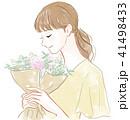 花束を持つ女性 41498433