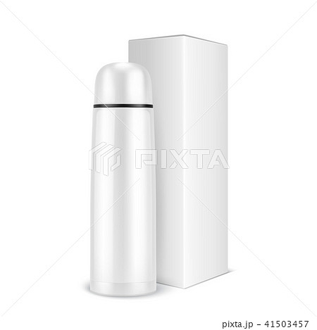 Vector realistic 3d wgite empty glossy metal vacuum thermo tumbler flask and box closeup isolated on 41503457